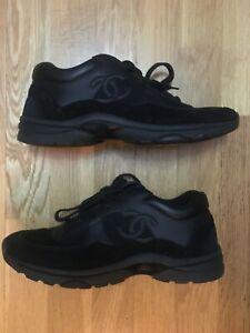 Chanel CC Logo Mens Runner Sneaker Trainers Triple Black Size Uk 8 original