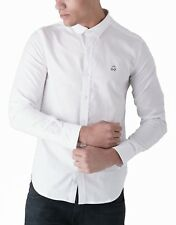 Duck and Cover Men Cotton Shirt Slim Fit Casual Long Sleeve Oxford Birch Fashion L White