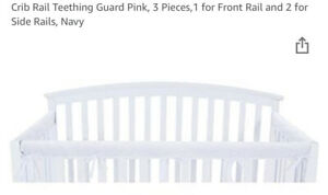 TILLYOU 3-Piece Set Padded Baby Crib Rail Cover Safe Teething Protect White NWT