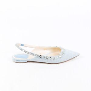 Christian Dior Flats Garland Blue Denim Pointed Slingback SZ 39