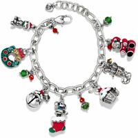 NWT Brighton HOLLY CHRISTMAS Charm Bracelet Bear Puppy Kitten Cupcake MSRP $98