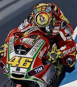 Valentino Rossi 78 x 70cms limited edition Moto GP art print by Colin Carter