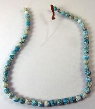 """16"""" Strand STONE BEADS Aqua & White with Dark Veins 8 mm Round Make Jewelry"""