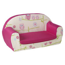 Owls Pink Kids Children's Double Foam Sofa Toddlers Seat Nursery Chair Girls