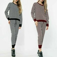 Women's Ladies Hounds Tooth Printed Jumper Joggers 2Pcs Set Loungewear Tracksuit