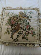 "Vintage Needle Point Cross Stitch Floral Birds Chic's  DecoPillow Fringe 14""."