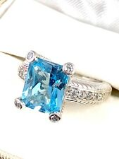 JUDITH RIPKA 925 STERLING 5 CARAT BLUE TOPAZ CUBIC ZIRCONIA COCKTAIL RING SZ. 7