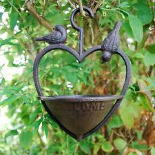 Garden Bird Feeder Cast Iron Hanging Heart With Welcome Sign