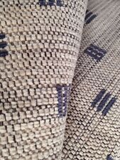 10 Metres Natural Upholstery Chenille With Blue Geometric Design Fabric Material