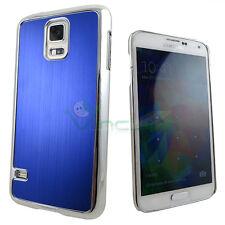 Custodia cover rigida effetto METALLO BRUSHED per Samsung Galaxy S5 G900F blu