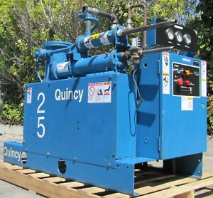 Quincy 25 HP Rotary Screw Air Compressor 460V 3Ph Water Cooled LOW HOURS
