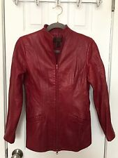 Danier Red Burgandy Leather Zip Up Coat Jacket Sz S Small P * RARE!