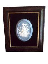 Framed Wedgwood Jasperware Plaque with Cameo Cherub