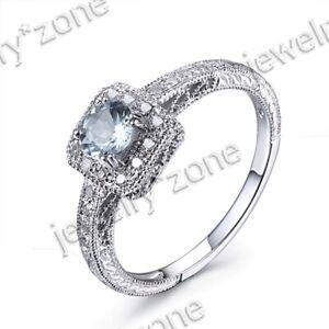 Solid 18K White Gold Round Aquamarine Gemstone Jewelry Wedding Engagement Ring