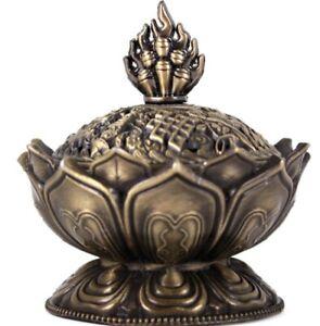 Metal Brass Lotus Flower Smoking Incense Cone Holder - Boxed - Trinket Box