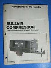 Sullair Air Compressor Operators Manual Amp Parts List 375 1988