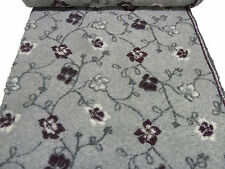 Stoffrest 18x150cm Musterwalk Walkloden Relief Blumen grau bordeaux wollweiß