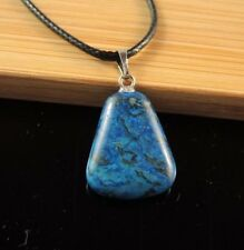 Natural Blue Agate Gemstone Fashion Pendant on a Black Cord Necklace #1416