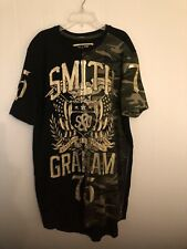 Smith & Graham Mens Teeshirt  Circa 75 Black Gold Foil Camo Short Sleeves Sz XL
