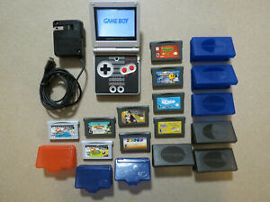 Nintendo Game Boy Advance SP NES Limited Edition + Charger, 9 Rare Games & Cases