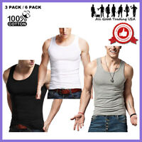 3-12 Packs Mens 100% Cotton Tank Top A-Shirt Wife-Beater Undershirt Ribbed Black