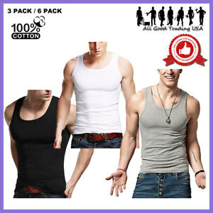 3-12 Packs Mens 100% Cotton Tank Top A-Shirt Undershirt Ribbed Finest Quality