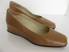 Valleverde Camel Tan Low Wedge Heel Shoes Women's EUR 38.5 Italy