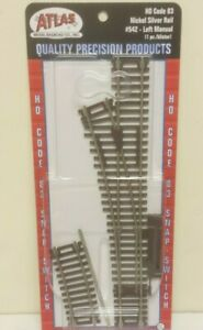 Atlas 542 #4 Left Hand Turnout Switch Nickel Silver Code 83 HO Scale Track