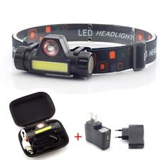 COB LED Headlamp USB Rechargeable Mini XPE Headlight head light Torch Flashlight