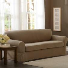 Maytex Pixel Stretch 2-Piece Sofa Slipcover, Sand