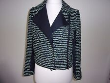 Smart New JAEGER Ladies Navy & Green Boucle Mix Jacket size 10