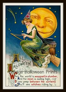 Vintage Style Halloween 5x7 Size Print Decoration - Witch on a Broom & Moon
