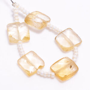 """A-One 100% Natural Citrine Square Shape Faceted Beads 9X9X4 mm Strand 3"""" DK-8715"""
