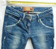 River Island Ladies Girls Jeans Size 6 R RELAXED skinny leg mid blue studs