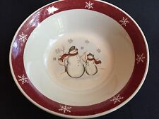 Royal Seasons Snowman Cereal Bowl Christmas Winter Stoneware Burgundy Rim