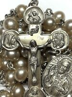 "† VINTAGE HEAVY CREED STERLING & PEARL STYLE ROSARY NECKLACE 32 1/2"" 64.75 GRS †"