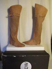 bottes cuissardes NOW cuir camel et toile tissée camel 37