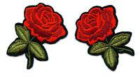 Set á 2 Stück Rose Rosen Aufnäher Patch Roses x
