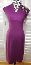 Trina Turk Ponte Floral Detail Sheath Dress Womens Size 4 Purple Casual Chic