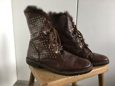 True Vintage 80s Brown Leather Wool/Fur Lined Winter Boots With Studs UK6.5 EU40