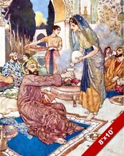 RUBIAT PERSIAN MEN & WOMEN EATING EDMUND DULAC PAINTING ART REAL CANVAS PRINT