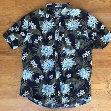 Cactus Man Men's Blue Floral Plumeria Palm Hawaiian Shirt Slim Fit Size XL