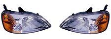 Fits 01 02 03 Honda Civic Headlight Pair Set Both NEW Headlamp 4 Door Sedan Only