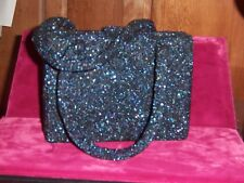 French beaded Paris Charlet evening bag Navy Blue satin change purse 1930s Mint