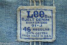 50s 60s Lee 91-J Jelt Denim Chore Barn Jacket Coverall 91J Workwear Sz 46