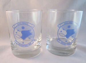 2 US Navy Fleet Angels Helsuppron Two Double Old Fashion Rocks Glasses