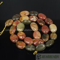 Natural Picasso Jasper Gemstone Oval 11mm x 15mm Crafts Spacer Loose Beads 15""