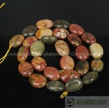 Natural Picasso Jasper Gemstone Oval 11mm x 15mm Crafts Spacer Loose Beads 15