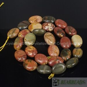 """Natural Picasso Jasper Gemstone Oval 11mm x 15mm Crafts Spacer Loose Beads 15"""""""