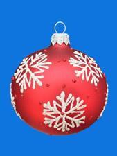 8cm RED SNOWFLAKE KUGEL BALL EUROPEAN BLOWN GLASS CHRISTMAS TREE ORNAMENT 034